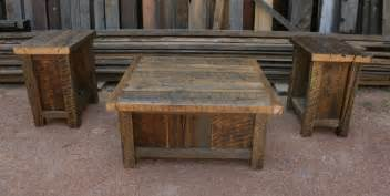rustic coffee table set reclaimed barnwood rustic coffee end table set by