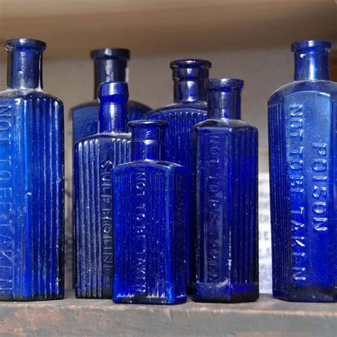 Blue Glass antique blue glass poison bottles