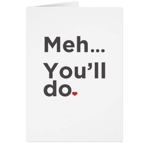 Best Valentine S Day Gifts For Him by Meh You Ll Do Funny Valentine S Day Card Zazzle