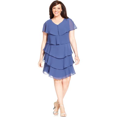 Tiered Dress patra plus size shortsleeve tiered dress in blue