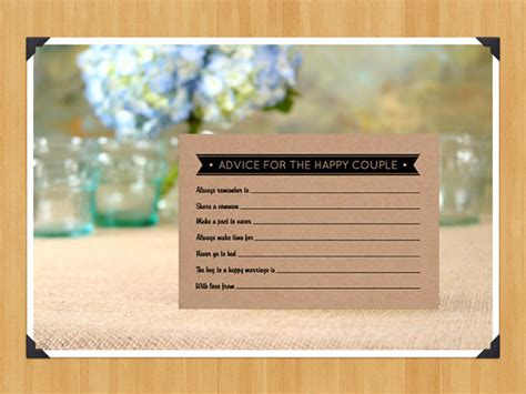 8 Cards To Send For A Wedding by Printable Fill In The Blank Wedding Advice Cards For