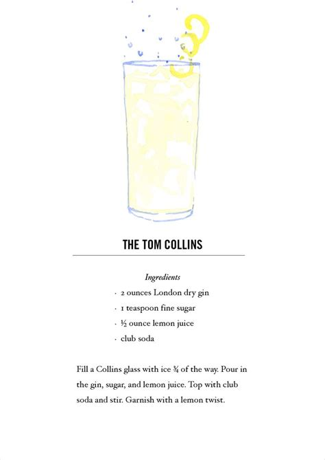 printable bar recipes tom collins cocktail recipe card buy all 12 here https