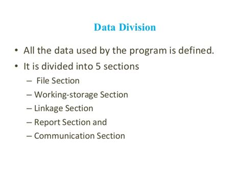 divisions and sections in cobol all around cobol