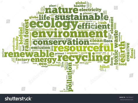 related words conceptual tag cloud shape green tree stock illustration