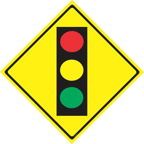 Light Signs by Traffic Light Ahead Warning Sign Caution Sign Road