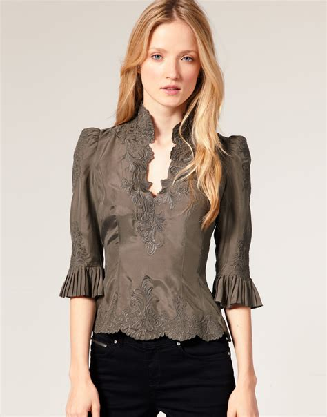 Silk Blouse by Fashion For Millen Lace Embroidered Silk Blouse