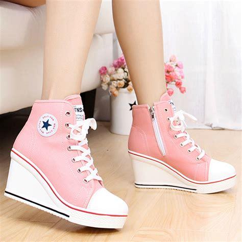 Nike Wedges Pink Sneakers Sport Casual Running Senam aliexpress popular canvas wedge sneaker in shoes