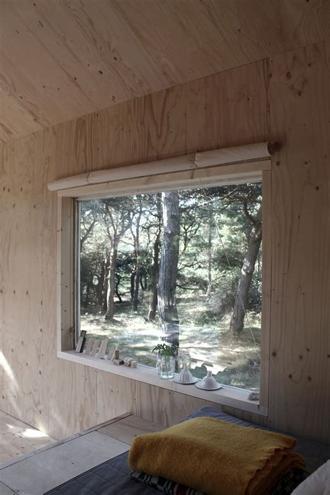 compact plywood  pine cabin  attached sauna