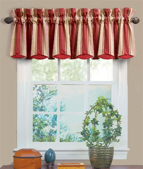 waverly draperies yacht club stripe crimson chatham valance waverly