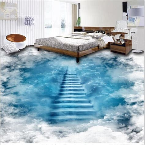 3d flooring unique design staircase to the clouds print waterproof