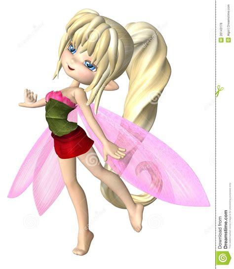 3d little girl pw cute toon summer petals fairy stock illustration image