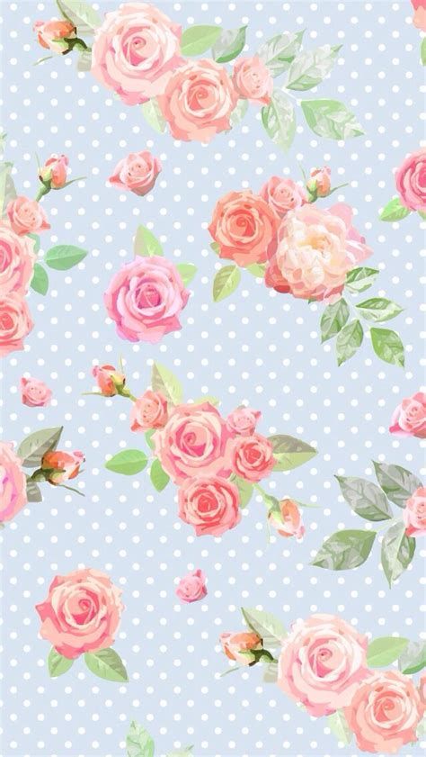 wallpaper pink and blue floral blue vintage floral dots iphone phone wallpaper background