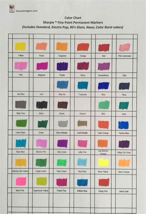 sharpie marker colors color chart for sharpie point permanent markers the