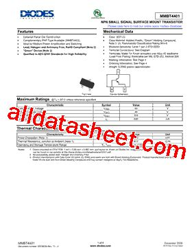 diodes inc b140 13 f mmbt4401 13 f データシート pdf diodes incorporated