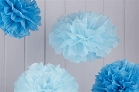 Pom Poms With Tissue Paper - pack of five blue tissue paper pom poms by