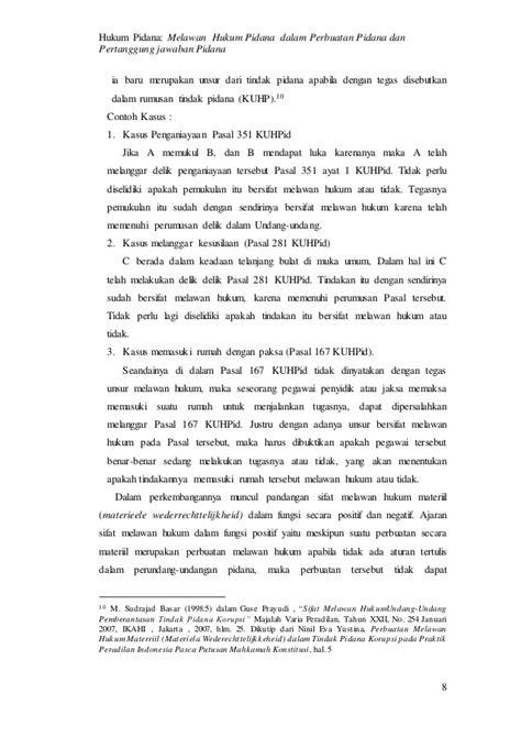 Kriminalisasi Dlm Hukum Pidana makalah hukum pidana sifat melawan hukum dalam perbuatan