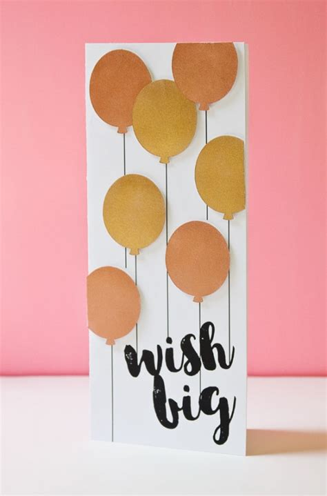 Papercraft Cards - metallic balloons birthday card by paper crave project