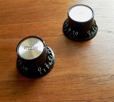 Vintage Guitar Knobs by Black Skirted Top Hat Tone Volume Knob Pair For Epiphone