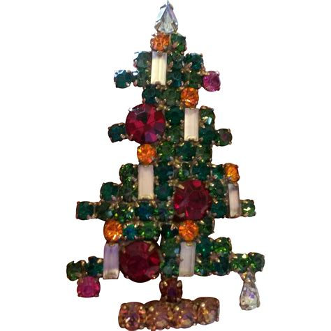 weiss tree pin weiss six candle rhinestone tree pin as is from