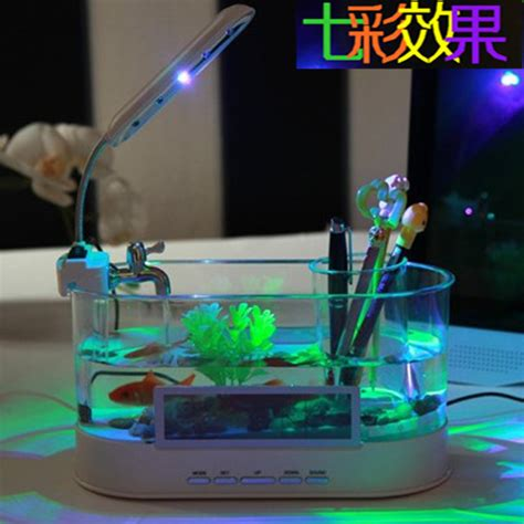 Usb Desktop Aquarium Mini Fish Tank Akuarium Mini With Lcd Display supply usb mini aquarium colorful lights creative small
