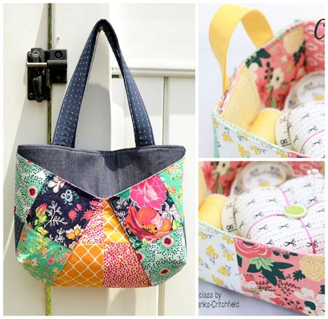 Patchwork Basket - a patchwork basket and tote bag to sewcanshe