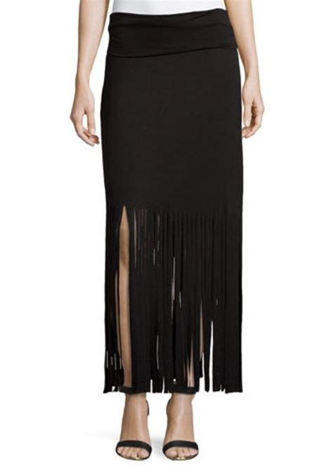 romeo juliet couture fringe trimmed maxi skirt