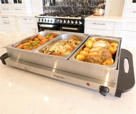 Kingavon Hot Buffet Server And Warming Tray 3 Pan Buffet Server And Warming Tray