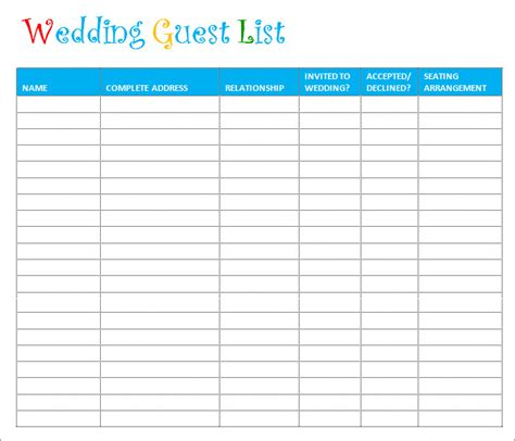 wedding guest list template 6 free sle exle
