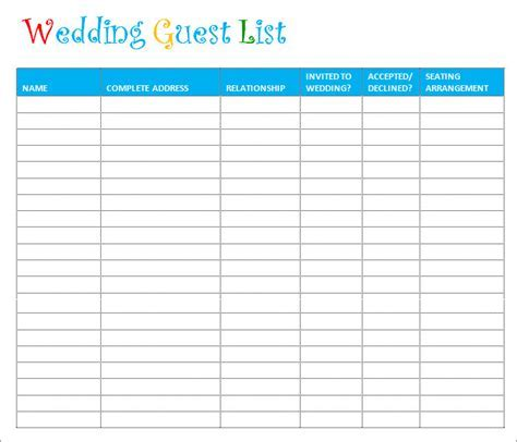 Wedding Guest List Template   6  Free Sample, Example