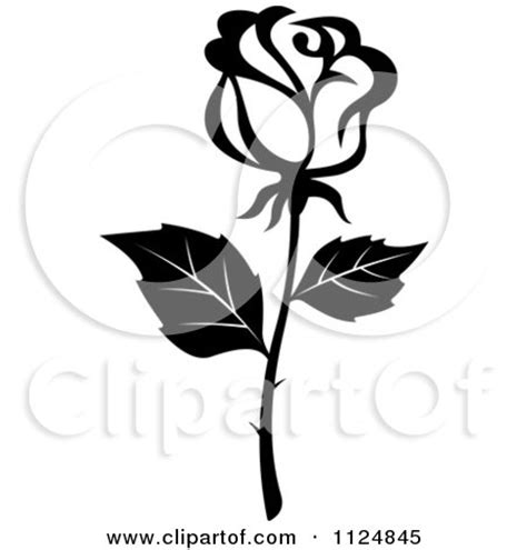 clipart of a black and white rose flower 16 royalty free