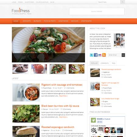 wordpress themes free food blog food press recipe blog wordpress theme
