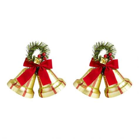 small decorative plaid bells set of 2 christmas tree