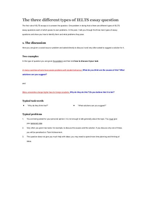 Ielts Essay Question by Three Different Types Of Ielts Essay Question From Dc Ielts