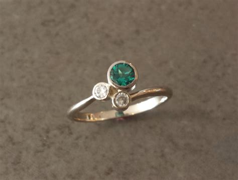 lab created emerald and moissanite white gold by alchemyhouse