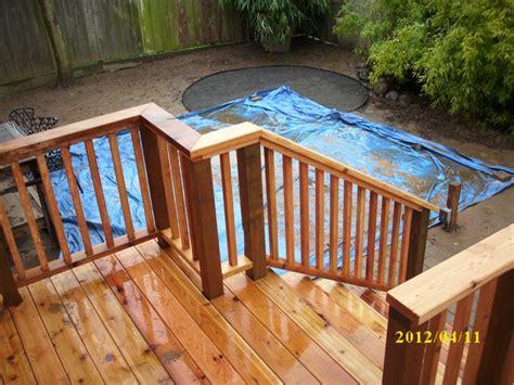 cedar deck with built in bench new cedar railing deck