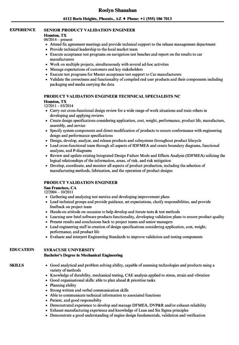 Validation Engineer Resume product validation engineer resume sles velvet