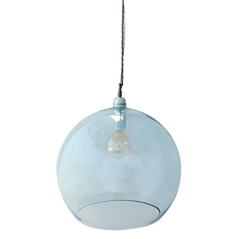 Mouthblown Globe Topaz Blue Glass Pendant Lighting and Lights UK