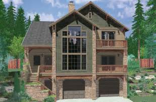 Row House Designs Small Lots - hillside home plans with basement sloping lot house plans