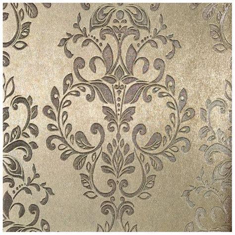 MURIVA Serena Metallic Shimmer Gold Damask Wallpaper