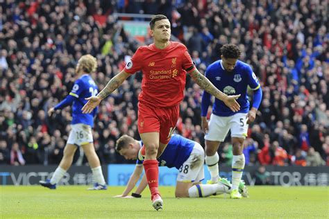 epl goal coutinho stars as liverpool beats everton 3 1 in epl derby