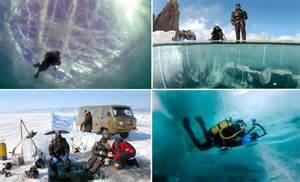 photographer andrey nekrasov captures divers  lake baikal daily mail