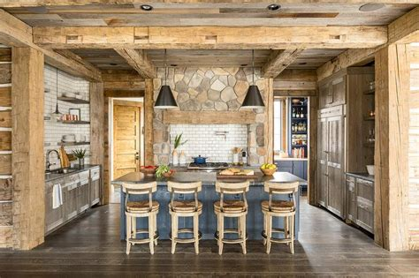 rustic cabin kitchen  wood pillars  beams country