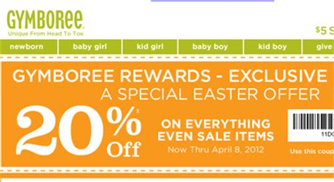 printable coupons for gymboree outlet gymboree 20 off printable coupon valid through april 8