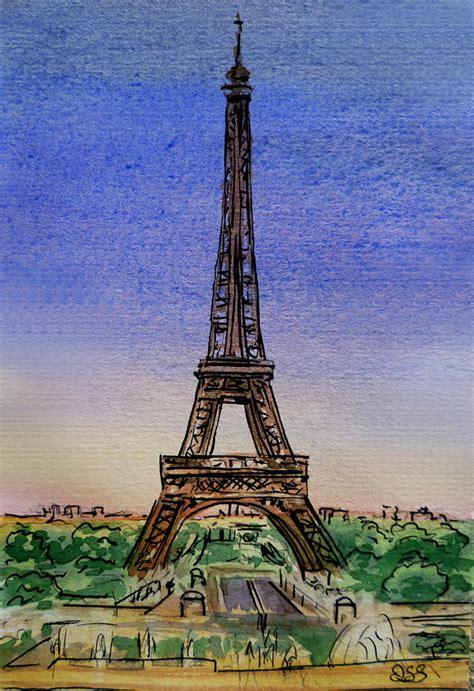 Eiffel Tower Duvet Eiffel Tower Paris France Painting By Irina Sztukowski