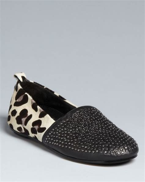 leopard loafer flats house of harlow snow leopard loafer flats in black black