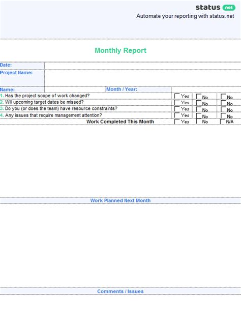 How To Write A Monthly Report Template