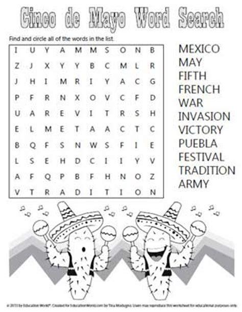 Free Mexico Search Cinco De Mayo Word Search Education World