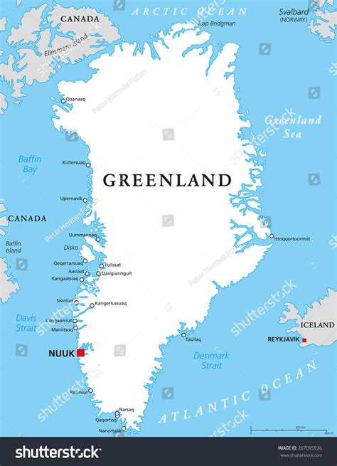 greenland map with cities greenland political map capital nuuk important stock