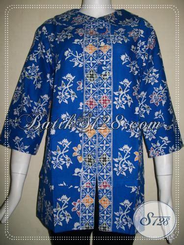 Blus Batik Biru Xl blus kerja batik wanita warna biru motif bunga elegan