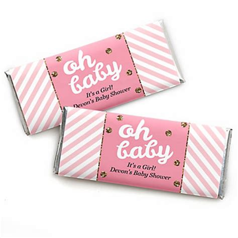 Personalized Bars For Baby Shower by Hello One Pink And Gold Personalized Bar